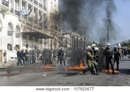 Clashes Have Broken Out Between Riot Police And Youths At A Demonstration In Central Athens During T