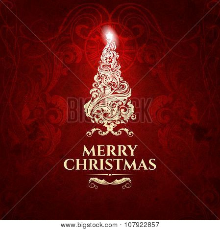 Classic dark red trendy premium elegant Merry Christmas card