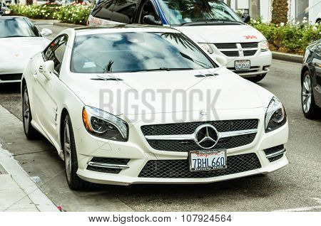 White Mercedes Benz Sl 550 Parked On Rodeo Drive in Los Angeles