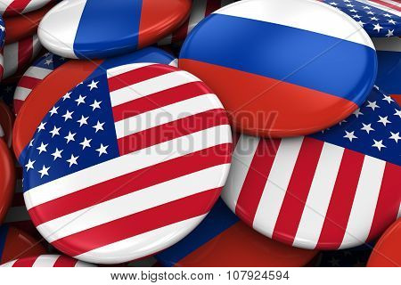 Flag Badges Of America And Russia In Pile - Concept Image For Us And Russian Relations
