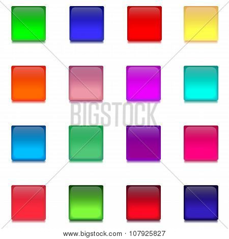 Set With Multicolored Square Glass Buttons
