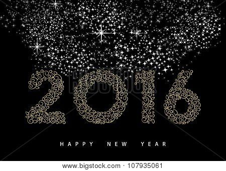 Happy New Year 2016 Gold Deco Monogram Ornament