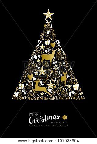 Merry Christmas Happy New Year Gold Xmas Tree Deer