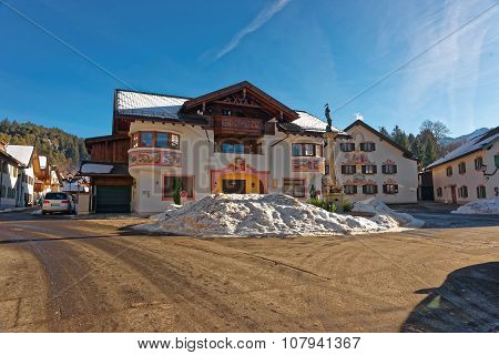 GARMISCH-PARTENKIRCHEN GERMANY - JANUARY 06 2015: Charming small Bavarian town with lovingly paintings on the facades of the houses. Garmisch-Partenkirchen Bavarian Alps Germany