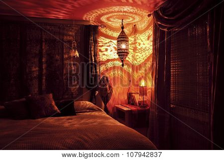 Moroccan bedroom with Moroccan lamp at night