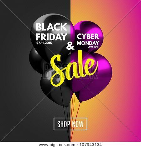 Black Friday and Cyber Monday Sale concept background.