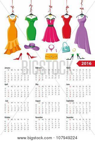 Calendar 2016 year.Summer dresses,accessories