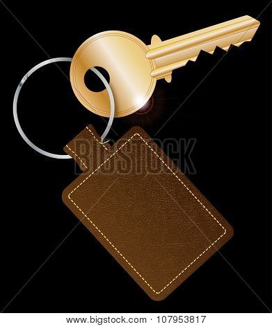 Leather Key Fob With Key