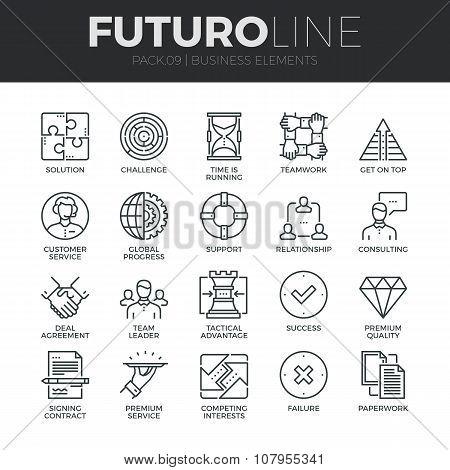 Business Elements Futuro Line Icons Set