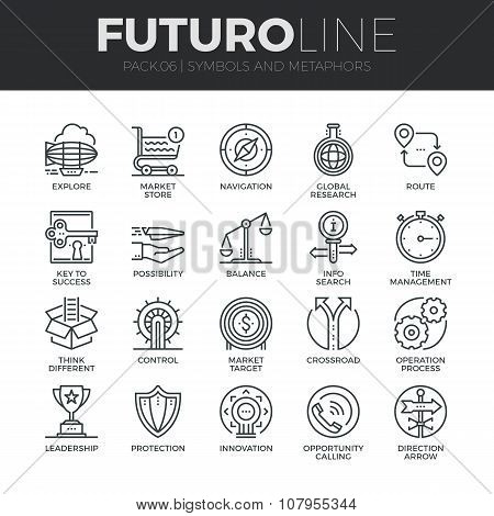 Symbols And Metaphors Futuro Line Icons Set