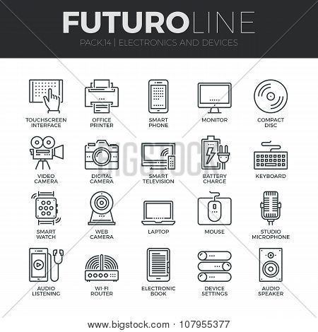 Electronics And Devices Futuro Line Icons Set