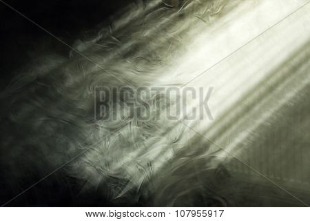 Light and smoke proceeds to the room through an open window