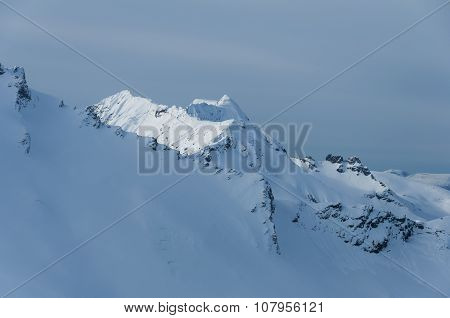Norwegian alpine mountains in winter