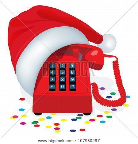 Christmas Red Stationary Phone With Button Keypad In Cap Of Santa Claus.