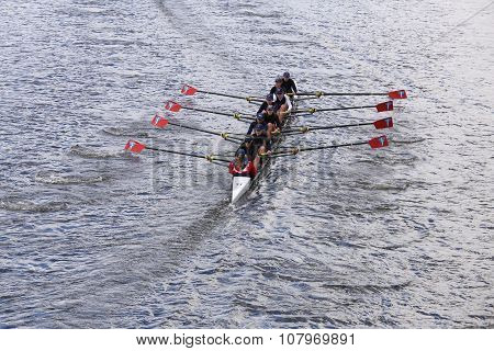 BOSTON - OCTOBER 18, 2015: Three Rivers races in the Head of Charles Regatta Women's Youth Eights [PUBLIC RACE]