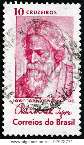 Postage Stamp Brazil 1961 Rabindranath Tagore, Indian Poet