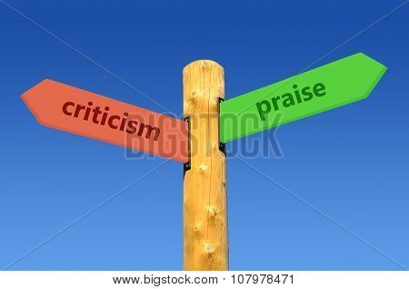 direction sign critics <--> praise