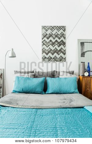 Matrimonial Bed With Blue Bedding