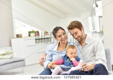 Portrait of happy family at home