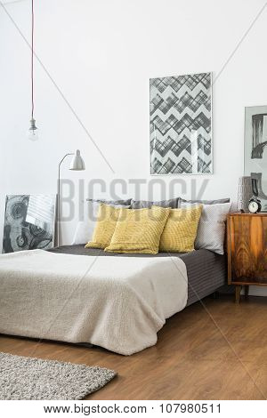 Matrimonial Bed With Light Bedding