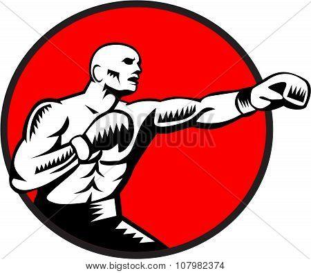 Boxer Jabbing Punching Circle Woodcut