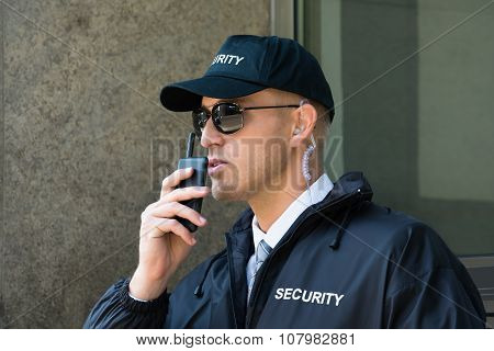Security Guard Using Walkie-talkie Radio