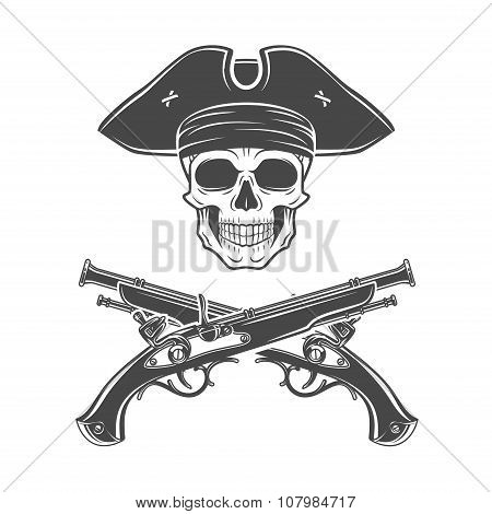 Evil captain skull in cocked hat vector. Jolly Roger logo template. death t-shirt design. Pistol insignia concept poster