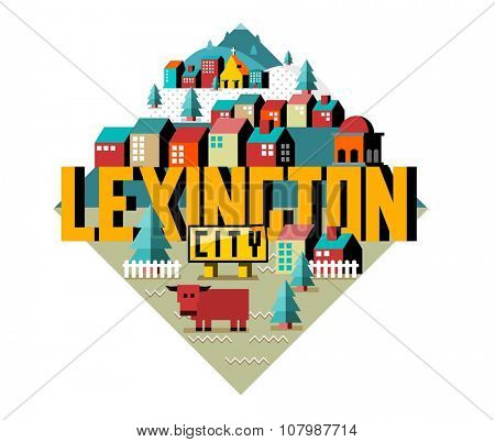 Lexington beautiful city to visit. vector cartoon