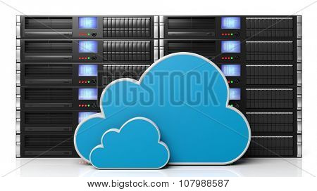 Server racks with cloud icons, isolated on white background poster
