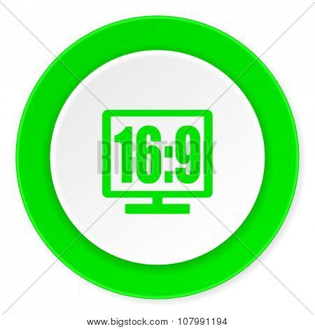 16 9 display green fresh circle 3d modern flat design icon on white background
