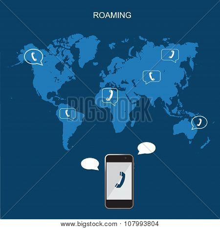 Mobile phone international roaming, flat vector illustration