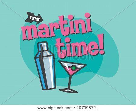 Martini Time Vector Design
