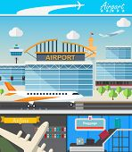 Airport building and travel concept vector illustration in flat design. Terminal, takeoff and landing strips. Luggage transporter and airport tower. poster