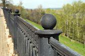 Fencing of upper Volga embankment in Nizhny Novgorod. Russia poster