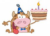Happy Calf Cartoon Character Holds Birthday Cake poster