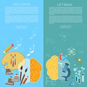 Brain power of the mind left and right hemisphere creativity art and analytical thinking vector banners poster