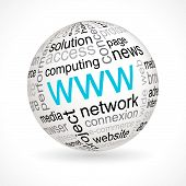 WWW theme sphere with keywords full vector poster