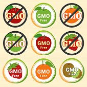 GMO Free Non GMO guarantee tag label emblem sticker for red green apple orange kiwi fruit poster