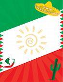 Mexican Flag Aztec Latino Hispanic Border Background poster