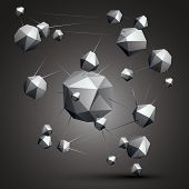 Complicated abstract grayscale 3D shapes vector digital object. Technology theme. poster