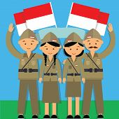 independence day hari pahlawan 17 agustus 1945 veteran indonesia fighter merdeka man and mowan in military uniform vector poster