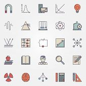 Physics flat icons set - vector colorful science symbols and education elements poster