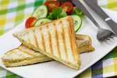 Toasted bread with melted cheese and green side salad poster