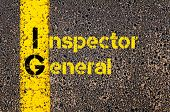 Concept image of Business Acronym IG as Inspector General written over road marking yellow paint line. poster
