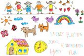 Kindergarten children doodle pencil and crayon color drawing of a friend and kid imagination playing environment such as animal cat dog pet house flower rainbow and star in happy cartoon character style in white isolated background with colorful handwriti poster