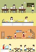 Flat cartoon student in school building interior and layout for each subject class such as English language classroom science chemistry laboratory sport gymnasium gym physical education and cafeteria canteen for schoolboy schoolgirl children banner backgr poster