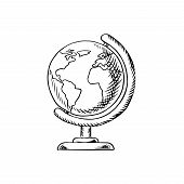 Modern globe with continents, oceans and seas on desktop stand, sketch icon for education or school themes design poster