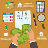 vector concept in flat style - track your income and expense. budgeting. infographic. poster