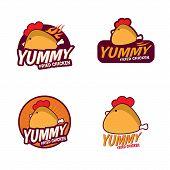 Yummy Fried chicken logo vector set design poster