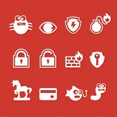 Set of cyber virus digital protection hacker attack icons vector poster